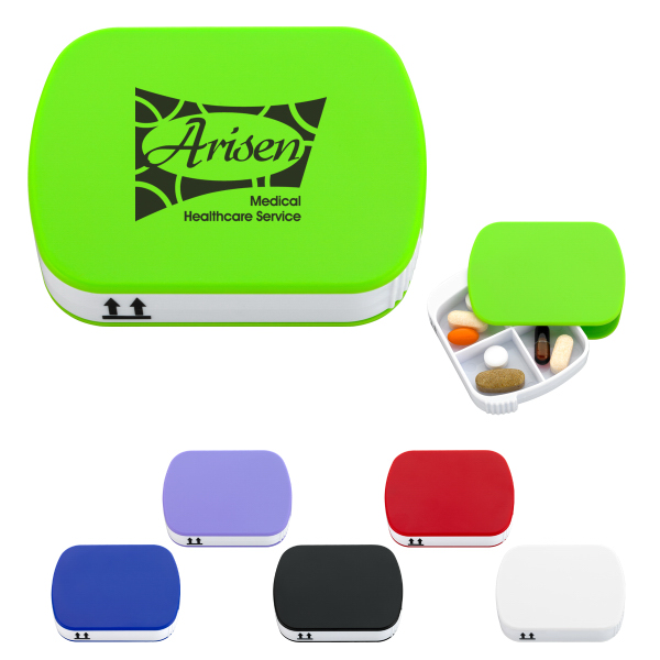 Promotional 4-Section Pill Holder With Slide Out Tray