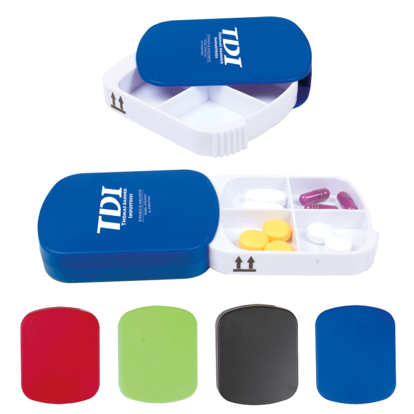 Promotional 4 Compartment Pill Case