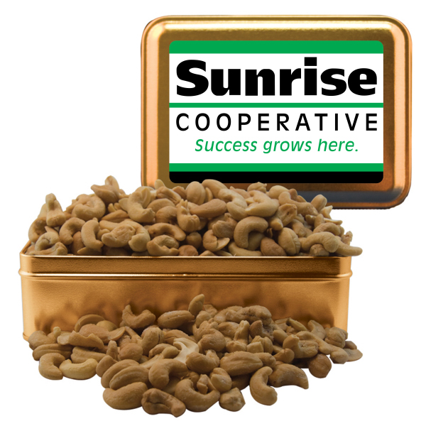 Imprinted Rectangle Tin with Cashews - Nuts