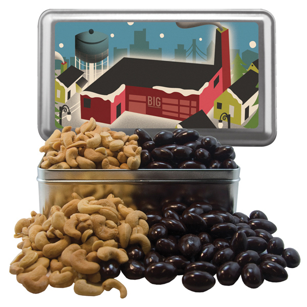 Personalized Large Rectangle Tin with Chocolate Covered Almonds & Cashews