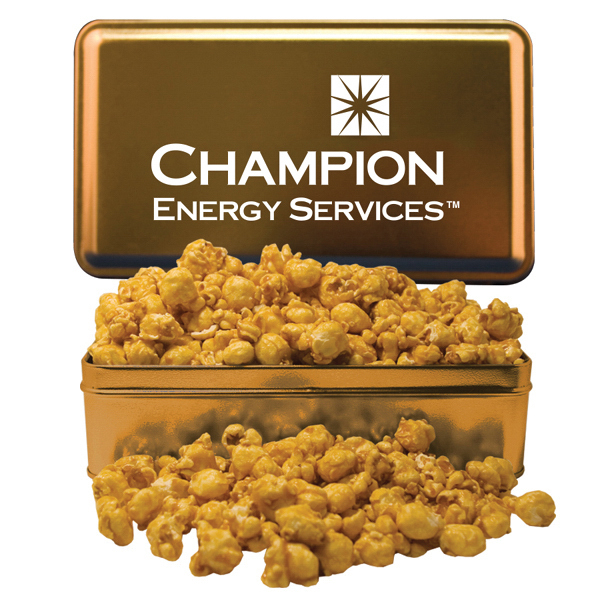 Imprinted Large Rectangle Tin with Caramel Popcorn