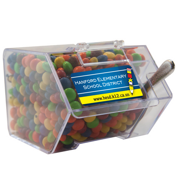 Imprinted Large Candy Bin with Chocolate Littles - Candy Dispenser