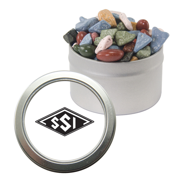 Promotional Silver Candy Window Tin with Chocolate Rocks