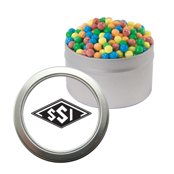 Customized Silver Candy Window Tin with Mini-Tarts