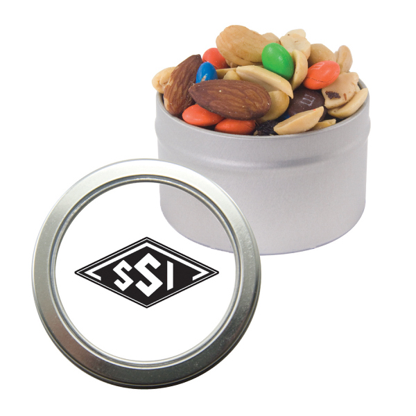 Personalized Silver Candy Window Tin with Trail Mix