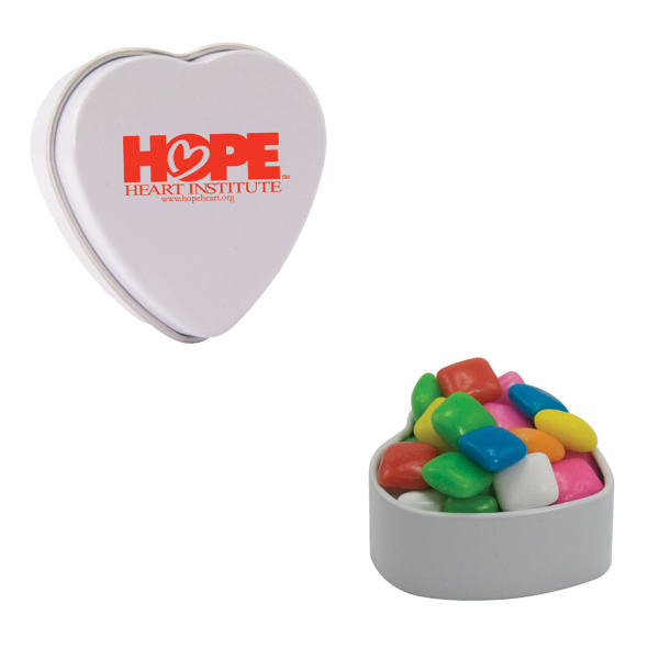 Imprinted White Heart Tin with Gum
