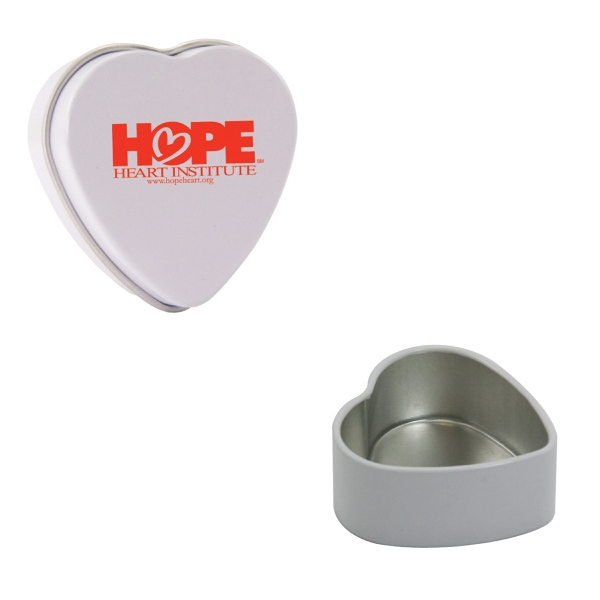 Customized White Empty Heart Tin
