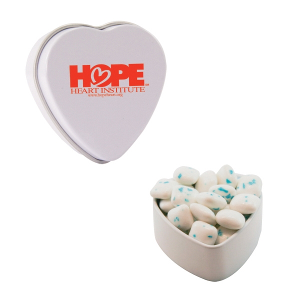 Promotional Heart tin filled with sugar free gum