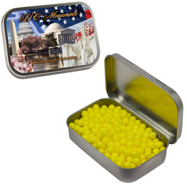 Promotional Large Silver Mint Tin with Colored Bullet Candy
