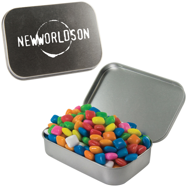 Personalized Large Silver Mint Tin with Gum