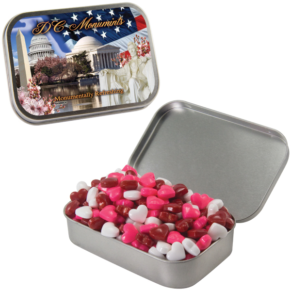 Customized Large Silver Mint Heart Tin with Candy Hearts