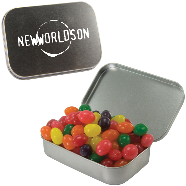Printed Large Silver Mint Tin with Jelly Beans