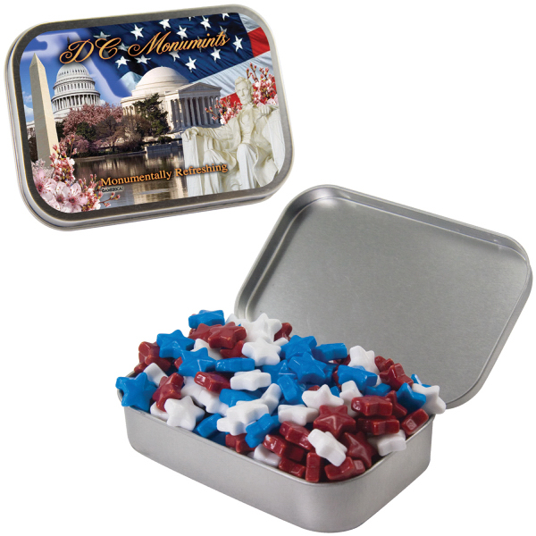 Imprinted Large Silver Mint Tin with Candy Stars