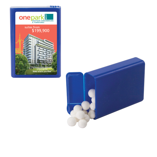 Printed Refillable Plastic Mint/Candy Dispenser w/Peppermints