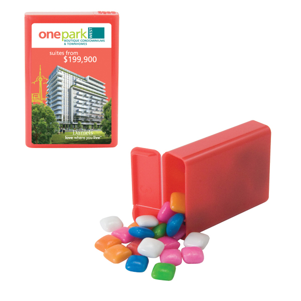 Printed Refillable Plastic Mint/Candy Dispenser with Gum