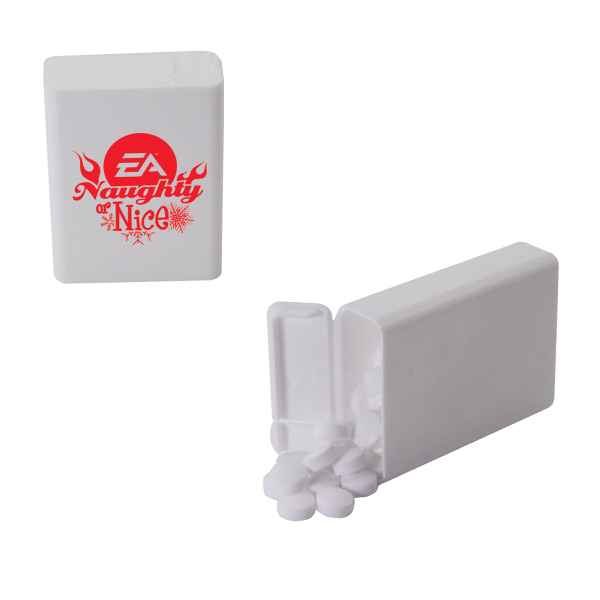 Custom Refillable Plastic Mint/Candy Dispenser with Sugar-Free Mint