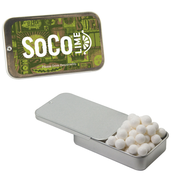 Promotional Silver Slider Tin with Signature Peppermints