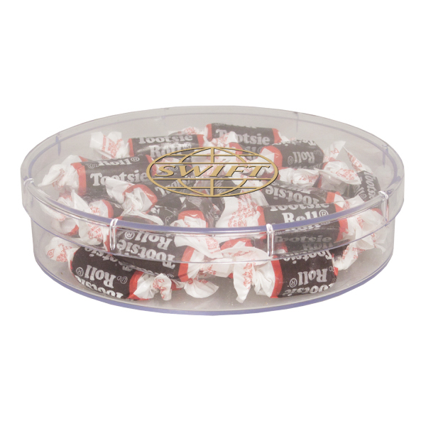 Printed Large Round Show Piece with Tootsie Rolls - Candy - Acrylic