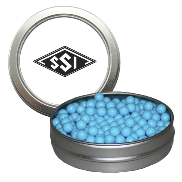 Customized Silver Short Round Tin with Colored Bullet Candy