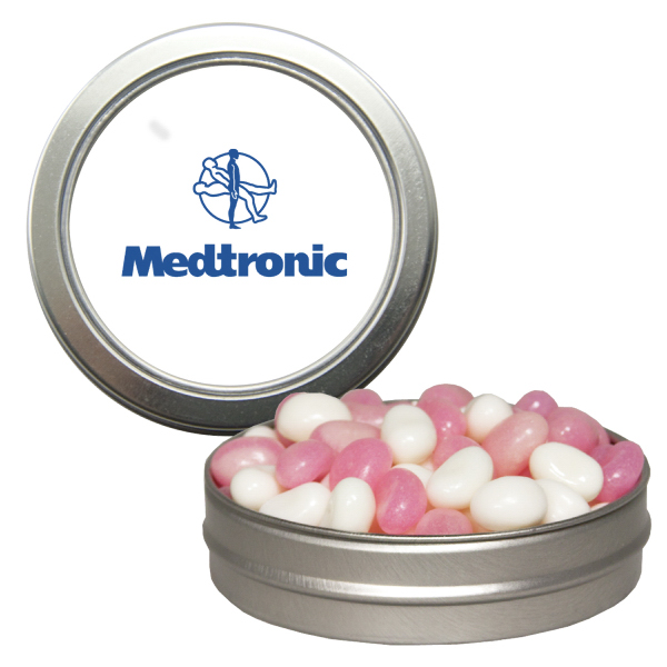 Promotional Silver Short Round Tin with Corporate Color Chocolates