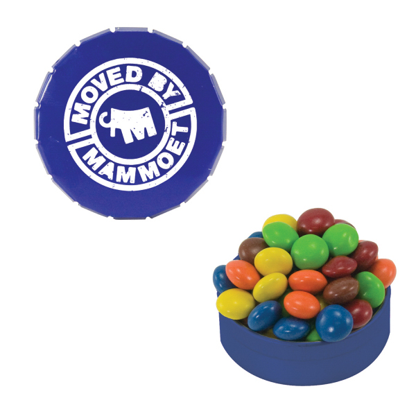 Imprinted Small Blue Snap-Top Mint Tin with Chocolate Littles