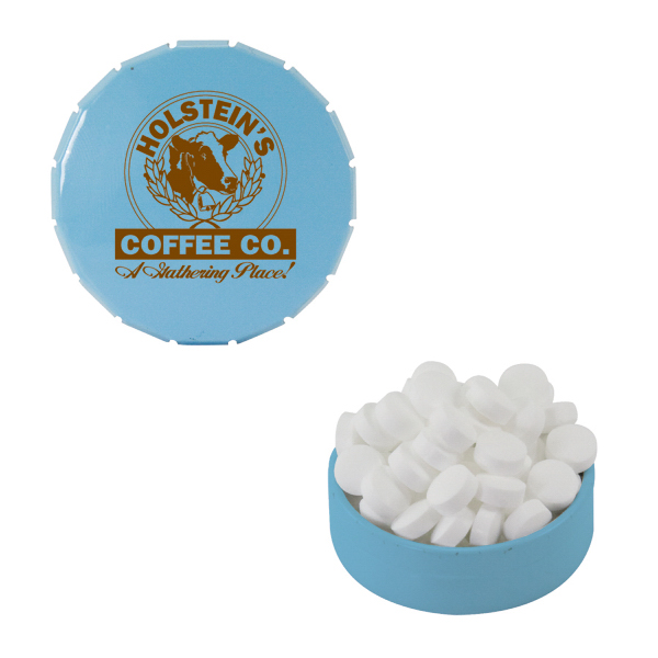 Imprinted Small Light Blue Snap-Top Mint Tin with Sugar-Free Mints