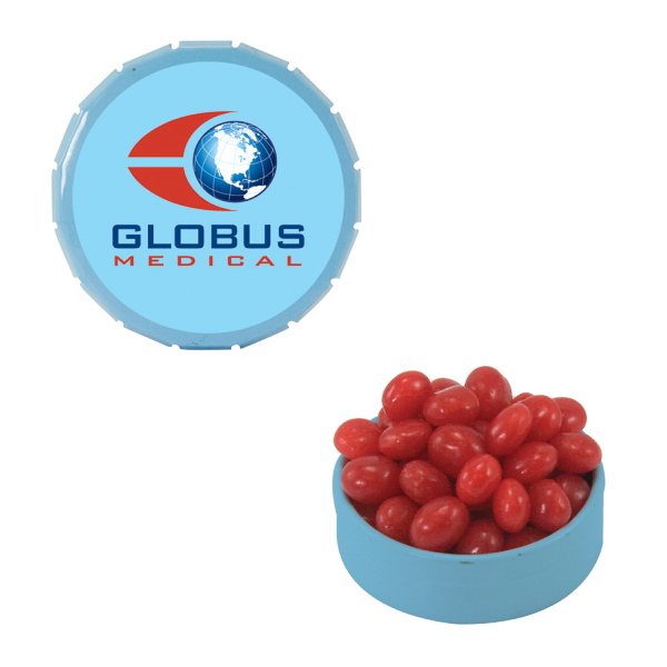 Personalized Small Light Blue Snap-Top Mint Tin with Cinnamon Red Hot