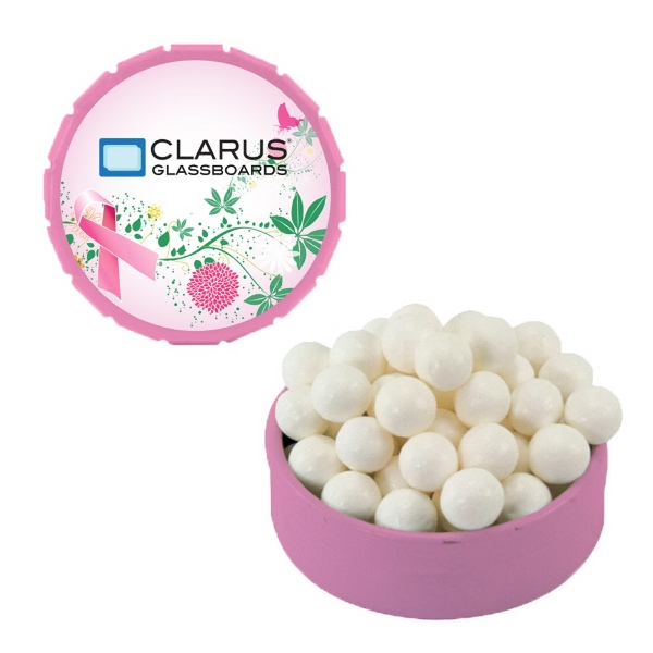 Customized Small Pink Snap-Top Mint Tin with Colored Bullet Candy