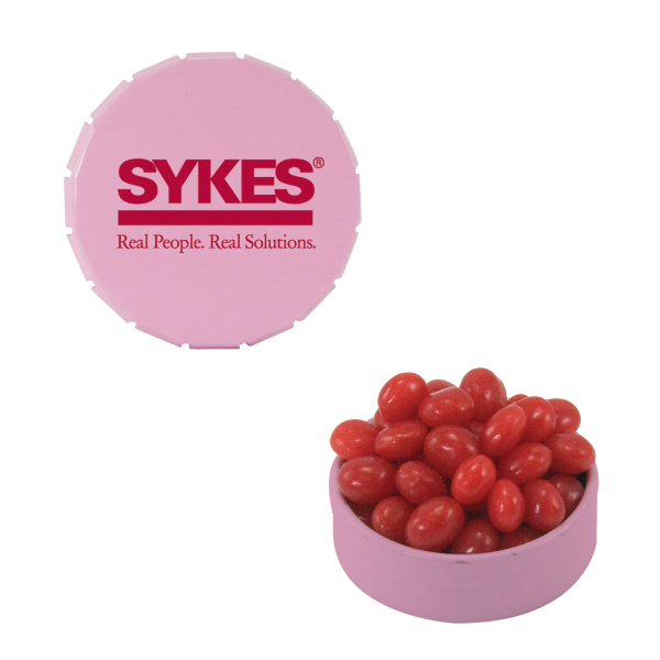 Promotional Small Pink Snap-Top Mint Tin with Cinnamon Red Hots