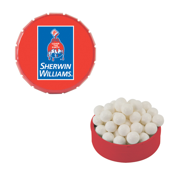 Imprinted Small Red Snap-Top Mint Tin with Signature Peppermints