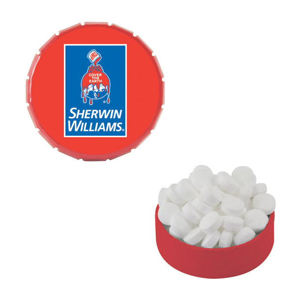 Custom Small Red Snap-Top Mint Tin with Sugar-Free Mints