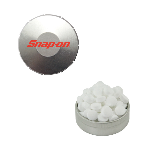 Printed Small Silver Snap-Top Mint Tin with Sugar-Free Mints