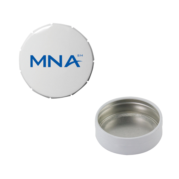 Printed Small Empty White Snap-Top Mint Tin
