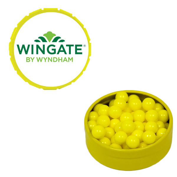 Printed Small Yellow Snap-Top Mint Tin with Colored Bullet Candy
