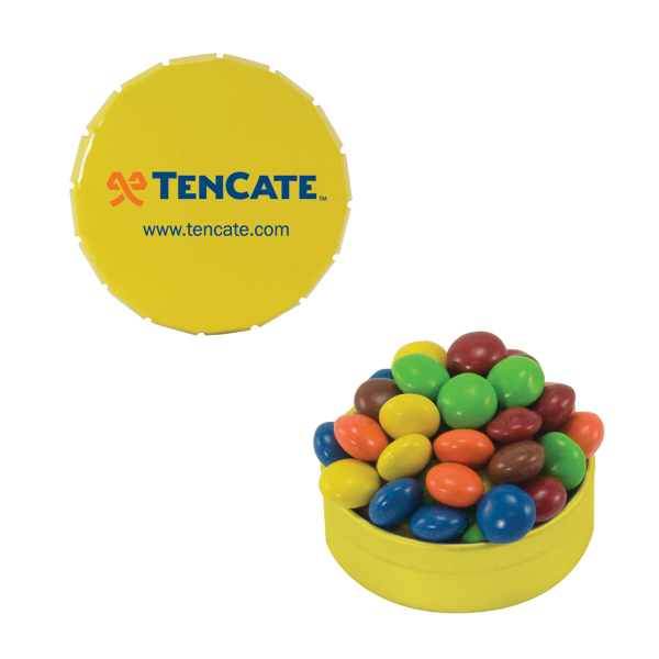 Promotional Small Yellow Snap-Top Mint Tin with Chocolate Littles