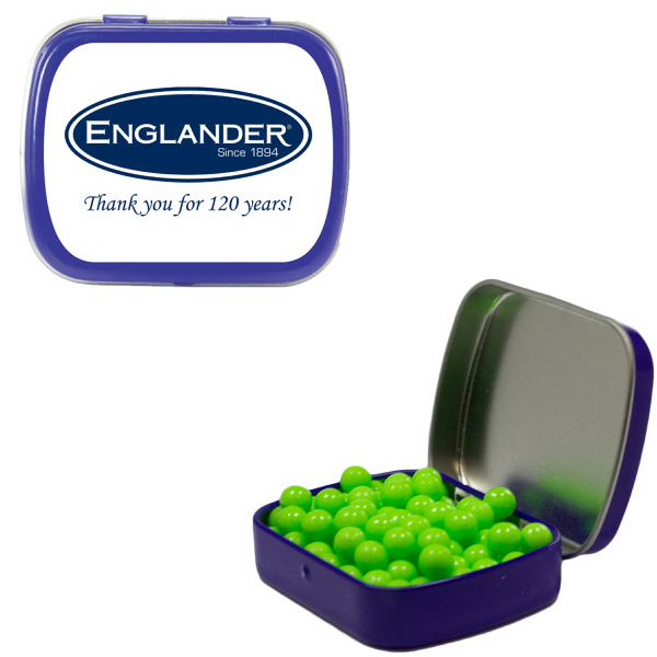 Promotional Small Blue Mint Tin with Colored Bullet Candy