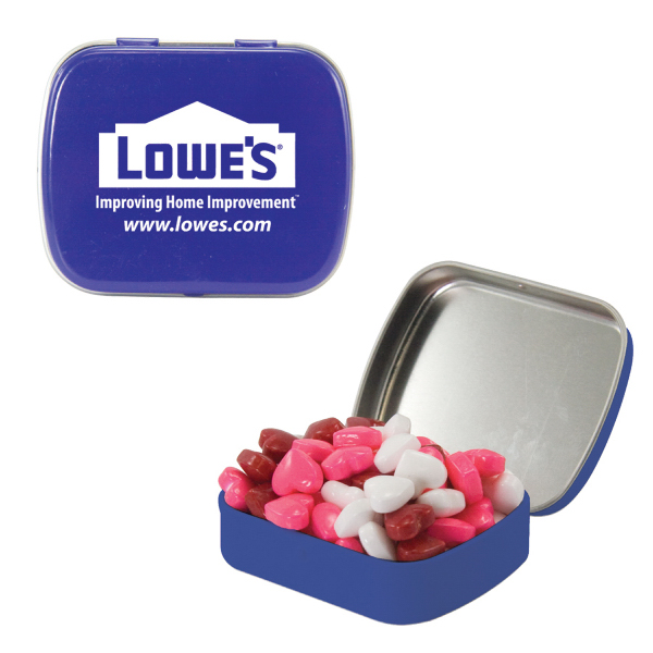 Personalized Small Blue Mint Tin with Candy Hearts