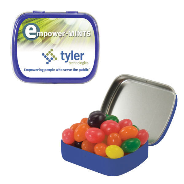 Custom Small Blue Mint Tin with Jelly Beans