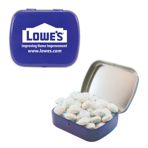 Customized Small Blue Mint Tin with Sugar-Free Gum