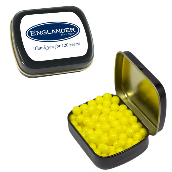 Imprinted Small Black Mint Tin with Colored Bullet Candy
