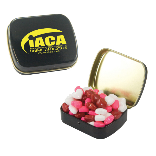 Imprinted Small Black Mint Tin with Candy Hearts