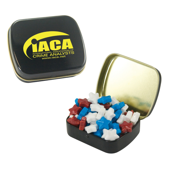 Customized Small Black Mint Tin with Candy Stars