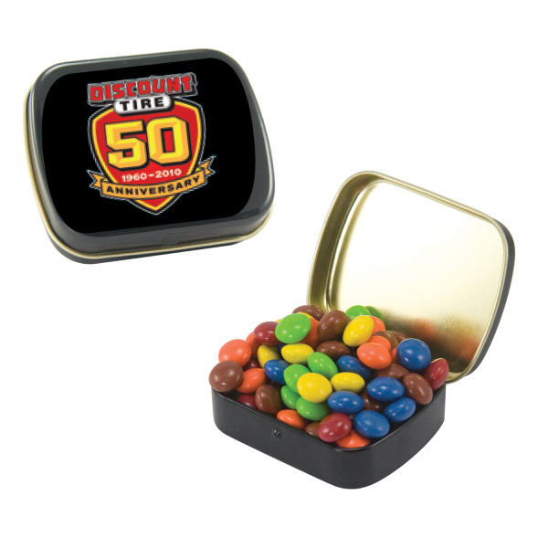 Imprinted Small Black Mint Tin with Chocolate Littles
