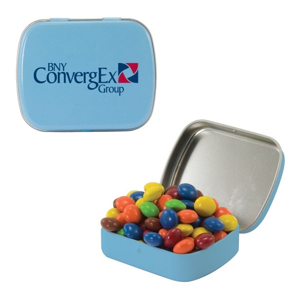 Printed Small Light Blue Mint Tin with Chocolate Littles