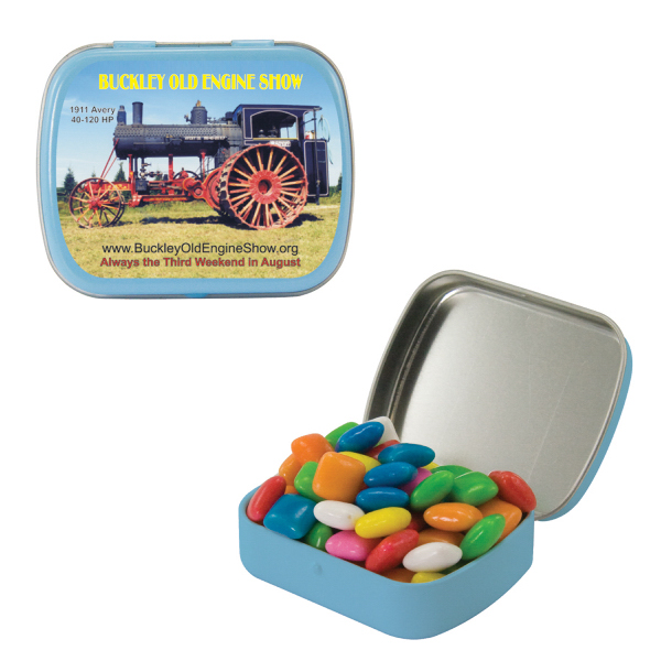 Custom Small Light Blue Mint Tin with Gum