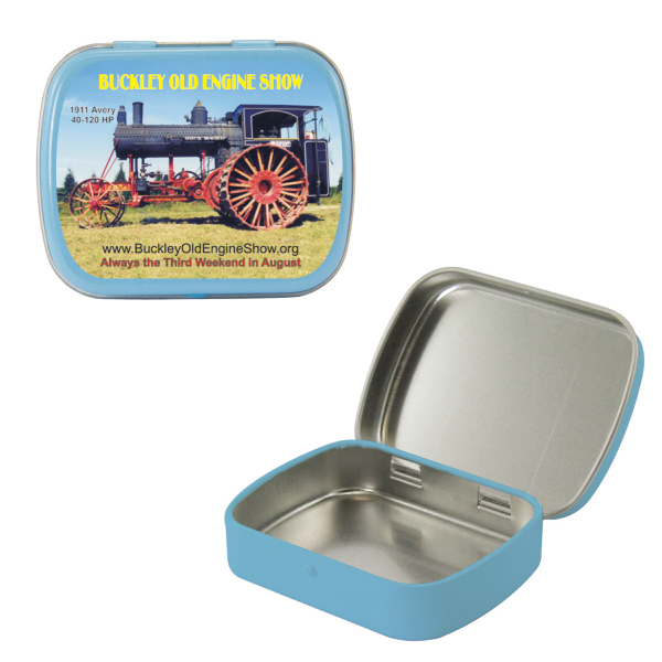 Imprinted Empty Light Blue Small Mint Tin