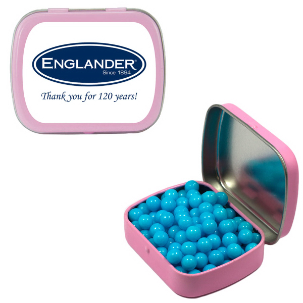 Promotional Small Pink Mint Tin with Colored Bullet Candy
