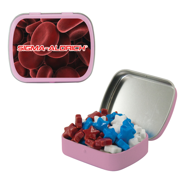 Promotional Small Pink Mint Tin with Candy Stars