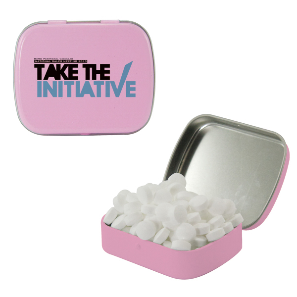 Customized Small Pink Mint Tin with Sugar-Free Mints