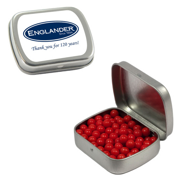 Custom Small Silver Mint Tin with Colored Bullet Candy